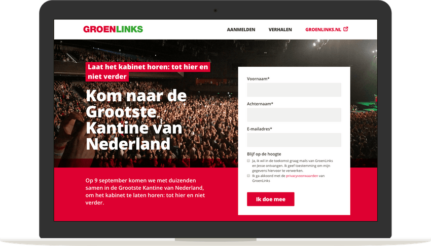 GroenLinks Signup page