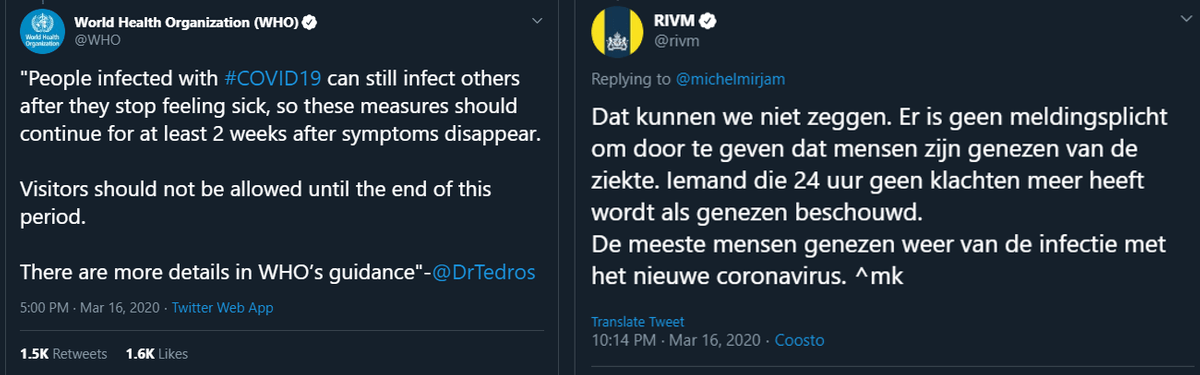 RIVM contradicting WHO