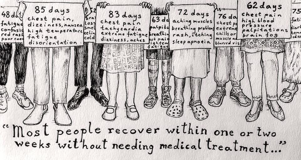 Text: 'Most people recover within weeks one or two weeks without needing medical treatment'. Patients holding up patients, couting the days they've been sick and the symptoms they are having.