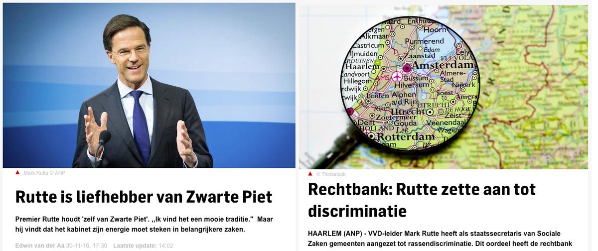 Links een bericht uit 2016 van AD: 'Rutte is liefhebber van zwarte piet' en rechts een bericht uit 2007 'Rutte zette aan tot discriminatie