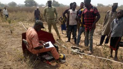 Geophysical survey for water by engineers in Sabongeri-Ndeji